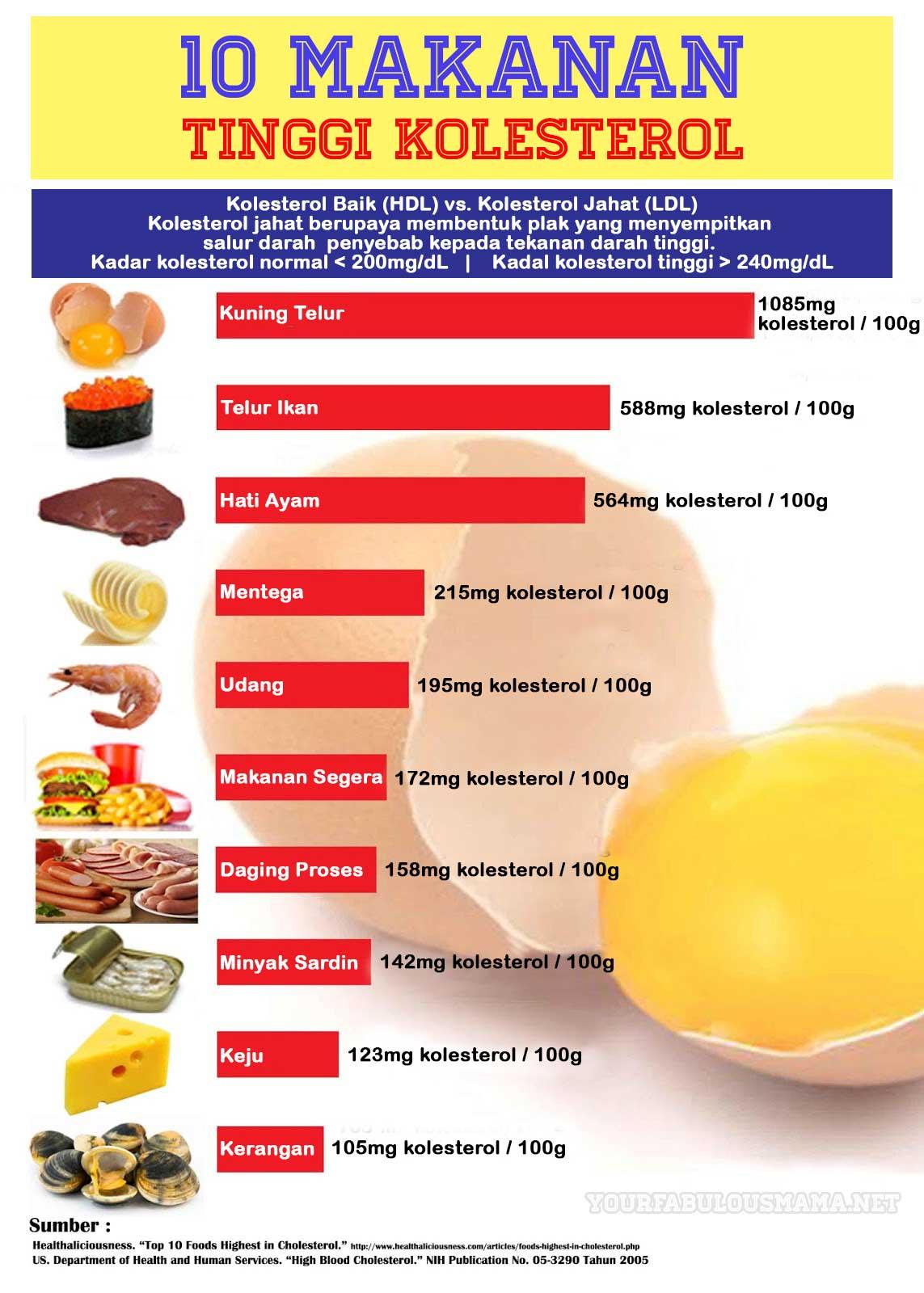 10 Makanan Tinggi kolesterol