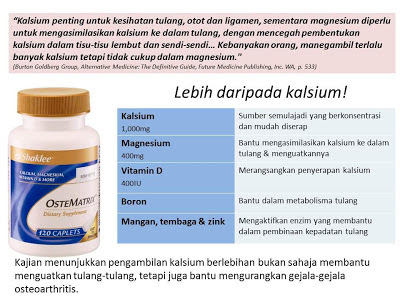 kalsium shaklee bantu atasi susu badan merudum teruk