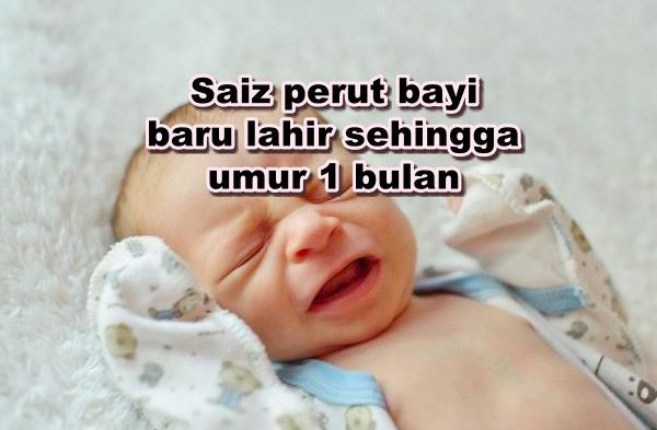 Saiz perut bayi baru lahir sehingga umur 1 bulan