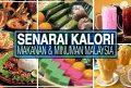 Panduan Kalori Makanan: Jadual Senarai Kalori Makanan Popular Rakyat Malaysia